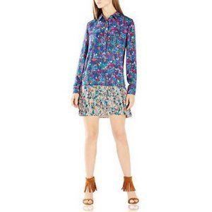 BCBGMaxAzria Color Block Floral Bradyn Shirt Dress